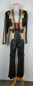Vtg Charro Mariachi Outfit Suit 3pc Bolero Jacket Pants & Belt Black Gold sz 38