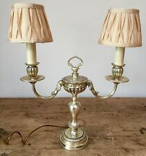 """PRELOVED DOUBLE CANDLESTICK STYLE ANTIQUE SILVERMETAL  TABLE LAMPS  19"""" TALL"""