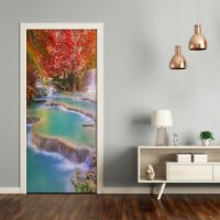 Home Mural Door Self Adhesive Removable Sticker Landscapes Waterfall in autumn