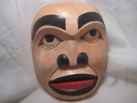 """NORTHWEST COAST  LARGE 8-1/2"""" CEREMONIAL MASK .. HAND CARVED & PAINTED, #WY-433"""