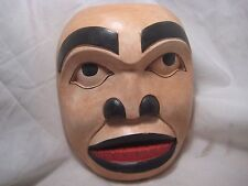"NORTHWEST COAST  LARGE 8-1/2"" CEREMONIAL MASK .. HAND CARVED & PAINTED, #WY-433"