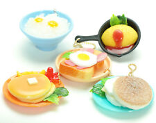 Squishy Cell Phone Charm Strap Keychain Pancakes Toast Egg Miniature Food Figure