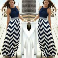 Ladies Womens Summer Striped Maxi Boho Long Dress Evening Cocktail Party Dress