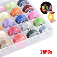 25X Sewing Thread Set with Plastic Bobbins Sewing Machine Spools Case Colorful