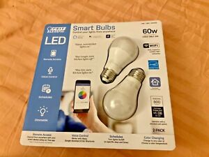 Feit Electric 60W Smart Wi-Fi LED Color Changing Dimmable Light Bulb - White NEW