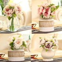 Chic 5 Heads Bunch Artifical Peony Silk Flower Hydrangea Wedding Home Decor