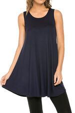 Azules Womens Rayon Span Sleeveless A-line Tank Tunic Long Top Dress