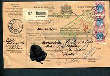 1911 pakketkaart naar St Moritz, grootrond AMSTERDAM 11; Bontkraag 3x nvph71