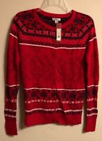 Merona Cardigan Sweater, Red Fair Isle Knit, Cotton, Christmas Holidays, Sz Med