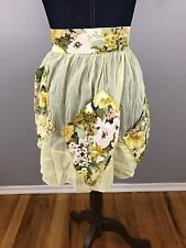Vtg Handmade Sheer Half Apron Yellow Floral Flower 3 Pockets Tie Back Ah