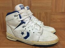 Vintage🇰🇷 Converse All Star White Leather Royal Blue Basketball Korea Made 9.5