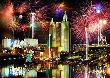 LAS VEGAS FIREWORKS POSTER 24x36 - AERIAL HOTELS LIGHTS SKYLINE 36619