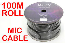 High Quality Shielded Pro Microphone Cable Wire Lead 100 Metre Roll 100m 2 Core