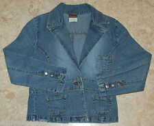 Girls Jean Jacket TAILORED BLUE DENIM Distressed LEE L 10-12 POCKETS