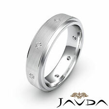 Wedding Stunning Band Platinum Ring 0.16Ct Bezel Set Round Diamond Mens Eternity