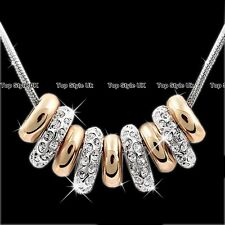 Rose Gold & Silver Rings Crystals Necklace Pendant Chain Womens Jewellery J251