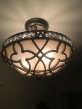 Glass Crystal Semi-Flush Mount Ceiling Light Burnished Silver Gold 3 Bulbs