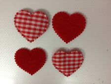 25 RED GINGHAM FABRIC HEART CHRISTMAS VALENTINE CARD MAKING CRAFT EMBELLISHMENTS