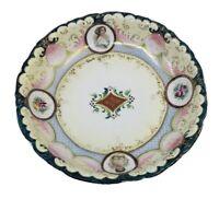 Antique Porcelain Hand Painted Flowers & Portraits Bowl Plate Centerpiece