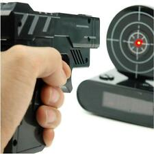 Cool Novelty Target Panel Shooting Game LCD Gun Alarm Clock Gadget Toy Gift BD