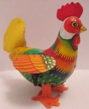 """Colorful Old Tin Wind Up Toy Rooster w Felt Comb & Tail 5"""" Japan 1950s as is"""