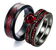His stainless steel Dragon and Her Red cz Band engagement wedding ring set