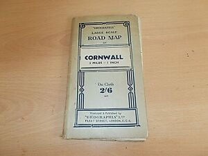 The Rare Vintage Cloth Map Of 'GEOGRAPHIA' Road Map Of Cornwall Undated