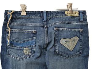 Roxy blue distressed denim jeans corduroy trim Size 10 NWOT