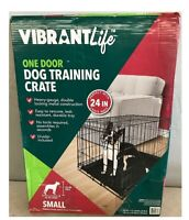 Vibrant Life Folding Dog Crate 24 In. Small Single Door Kennel with Divider