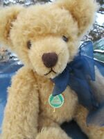 "VINTAGE TEDDY BEAR HERMANN MUSICAL WIND UP 14"" BLONDE MOHAIR  W TAG GERMANY CUTE"