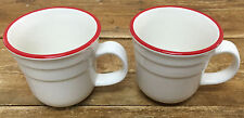 Thomson Pottery Red White Stripe 2 Coffee Mugs Ridges Thin Band Heavy Cup NICE