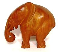 Elephant Figurine Hand Carved Heavy Solid Wood Pachyderm Trunk Down 7.5 in