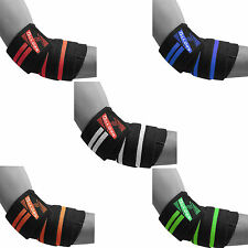 HEAVY DUTY ELBOW SUPPORT WRAPS GYM POWER WEIGHT LIFTING STRAPS BANDAGE PAIR