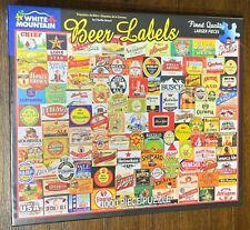 "Beer Labels by White Mountain 1,000 Pieces Puzzle 24"" x 30"" NIB ~ FREE SHIPPING"