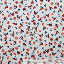 BonEful Fabric FQ Cotton Quilt White Blue Red Sail Boat Anchor American Nautical