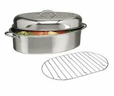 "Stainless Steel Top Roast Roasting Pan Rack and Lid 16""x12""x8"" Chicken Turkey"