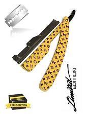 Yellow Slide Barber Straight Razor Cut Throat Folding Knife SHAVETTE free Blades
