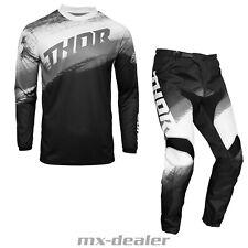 2021 Thor MX Sector Vapor Schwarz Weiß Cross Jersey Hose Combo Motocross Enduro