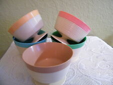 "COLLECTIBLE (5)  COLORFUL 1950'S RAFFIAWARE RIBBED FOOTED BOWLS  4 1/4"" X 3"""