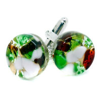 Murano Glass Cufflinks Green and Red White Gold Circular Handmade from Venice