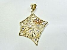Real 14K Multi-color Gold Spider Web Pendant spiderman black widow alice cooper