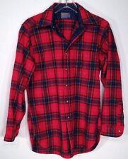 Pendleton Red Plaid Wool Shirt Jacket Small Medium Lined Placket Made 1960s USA
