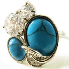 USA RING Swarovski element statement blue TURQUOISE Crystal gold OVAL Sizable
