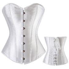 Women Sexy Corset Bustier White Wedding Dress Waist Cincher Overbust Top Dresses