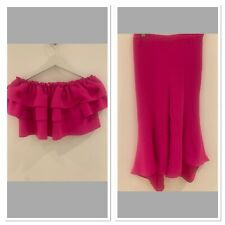 TOP TROUSER SET PINK RIVER ISLAND BARDOT FRILL TOP 7/8 YR TROUSERS AGE 10 SUMMER