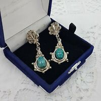 VINTAGE Egyptian Revival Scarab Clip-On Earrings Silver Tone Dangly Green/Blue