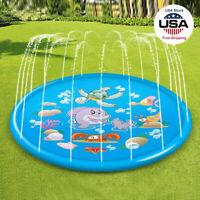 Kids Inflatable Water Spray Pad Sprinkler Mat Round Water Splash Play Pool