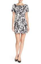 FRENCH CONNECTION PRINT WOVEN SHEATH DRESS BLACK WHITE SIZE 2