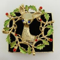 Vintage Gerry's Deer Wreath Christmas Gold Tone Pin Brooch