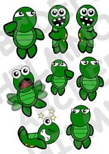 8 ADESIVI FINESTRA TARTARUGHE WINDOWS STICKERS TURTLES FUNNY VETRI DIVERTENTI
